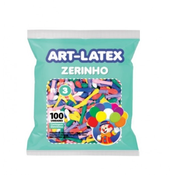 BEXIGA Nº3 ZERINHO SORTIDO C/100 UNIDADES ART-LATEX
