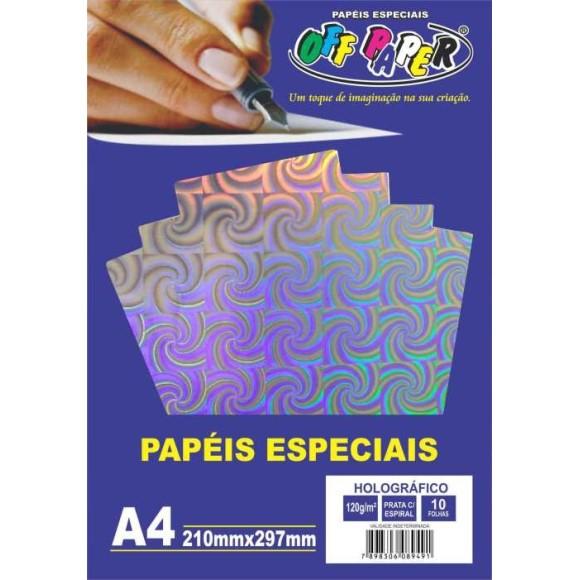 PAPEL HOLOGRÁFICO A4 10FLS PRATA OFF PAPER
