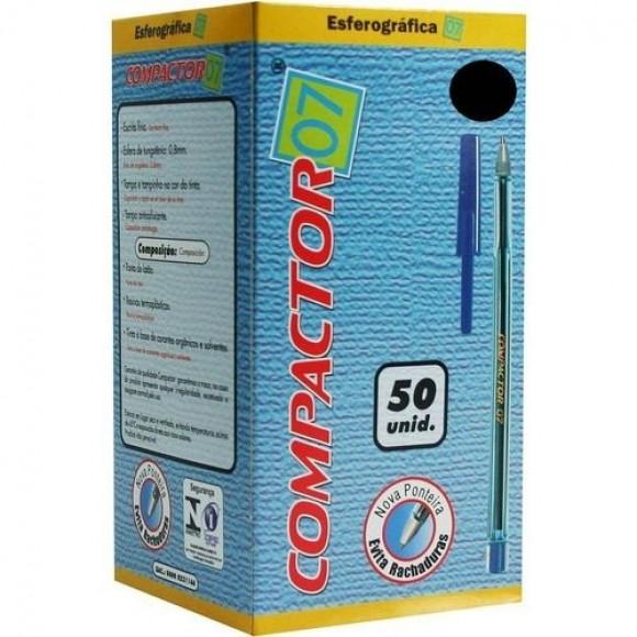 CANETA ESFEROGRÁFICA 0.7 PRETA C/50 COMPACTOR