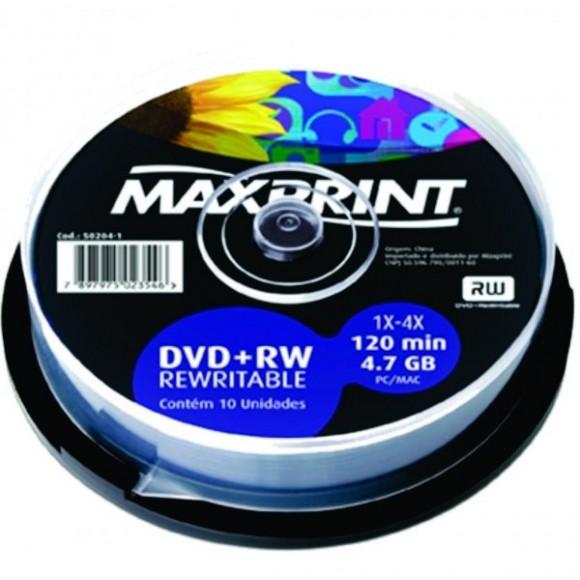 DVD+RW 4.7GB 120MIN PINO C/10 UNIDADES MAXPRINT
